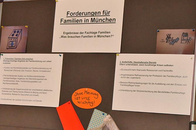Die Forderungen für Familien in München der Caritas konnten von den Teilnehmern kommentiert werden.