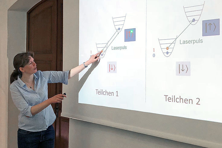 Tanja E. Mehlstäubler von der Physikalisch-Technischen Bundesanstalt, die sich anhand der Quantenmechanik mit hochgenauen Messungen (z.B. Zeitmessung) beschäftigt.
