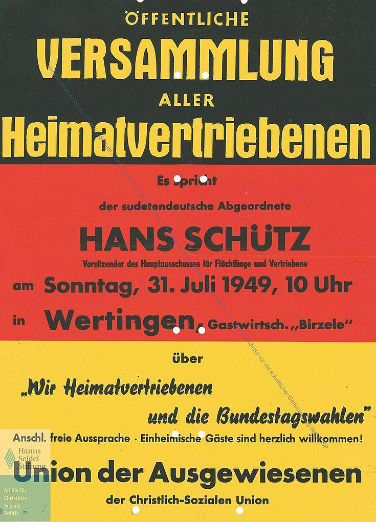 Flugblatt der Union der Ausgewiesenen und Flüchtlinge 1949