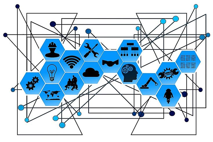 Themenbild mit einzelnen Kacheln mit Symbolen (Schraubenziehen, Person, Zahnräder, etc.), die alle miteinander verbunden sind. Drückt Vernetztheit aus.