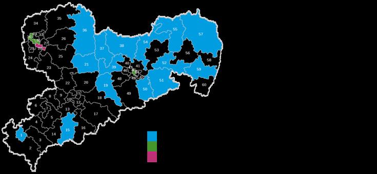 Karte Sachsens mit den kleinen Wahlkreisen