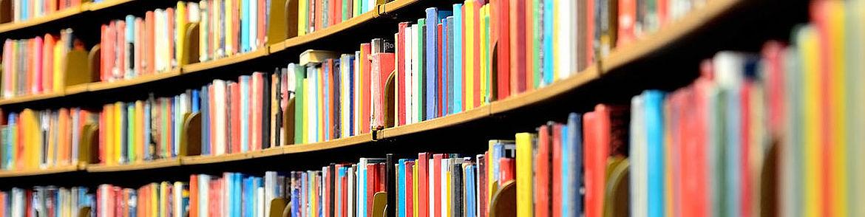 Großes Bücherregal mit bunten Büchern