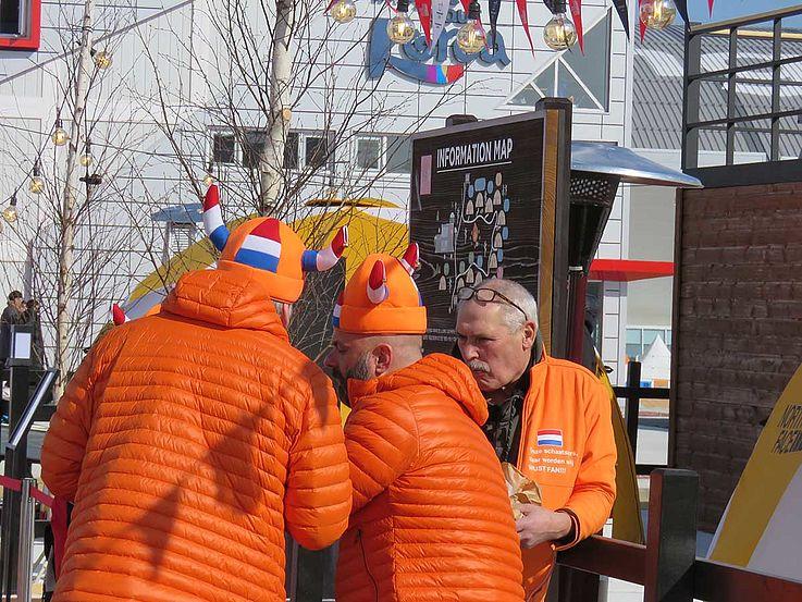 Fans mit Hörnerhelmen, bedruckt mit der Flagge der Niederlande