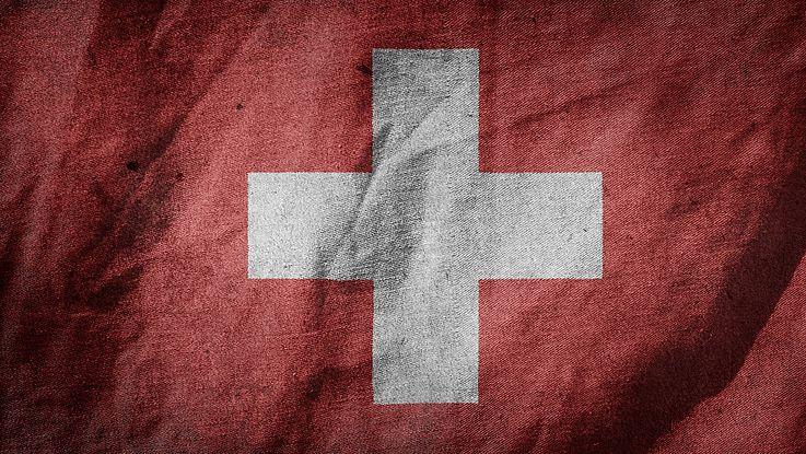 Die Fahne der Schweiz - ein weißer Kreuz auf rotem Grund