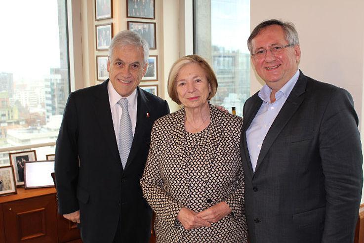 Sebastián Piñera, Ursula Männle und Klaus Binder