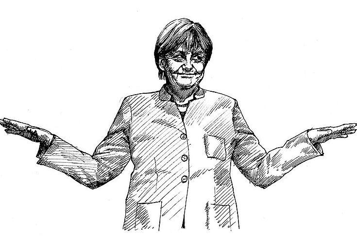 Bleistiftzeichnung von Merkel, die eine beschwichtigende Geste mit den Händen macht.