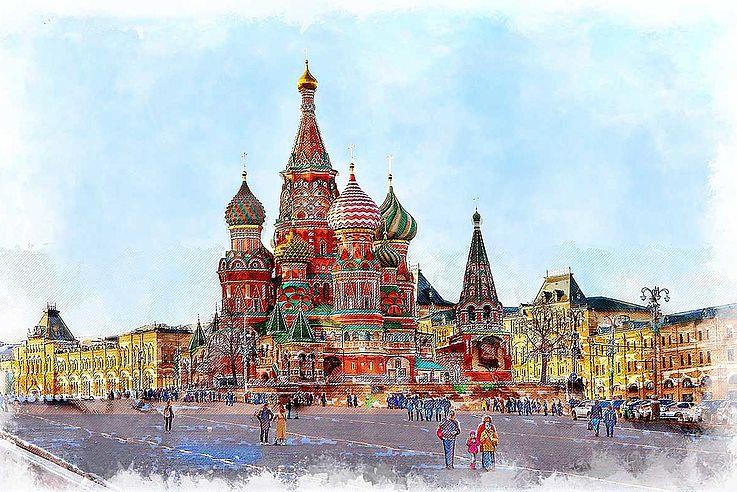 Der rote Platz in Moskau mit den Zwiebeltürmen der Basilius-Kathedrale