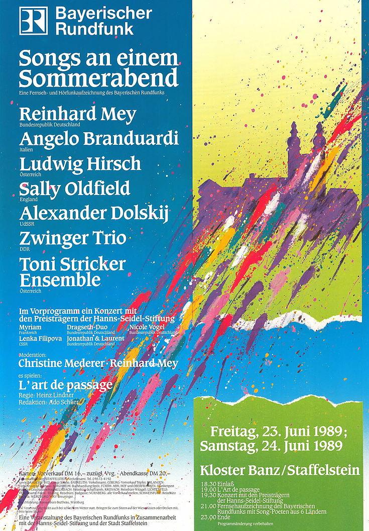 "Plakat ""Songs an einem Sommerabend"" 1989"