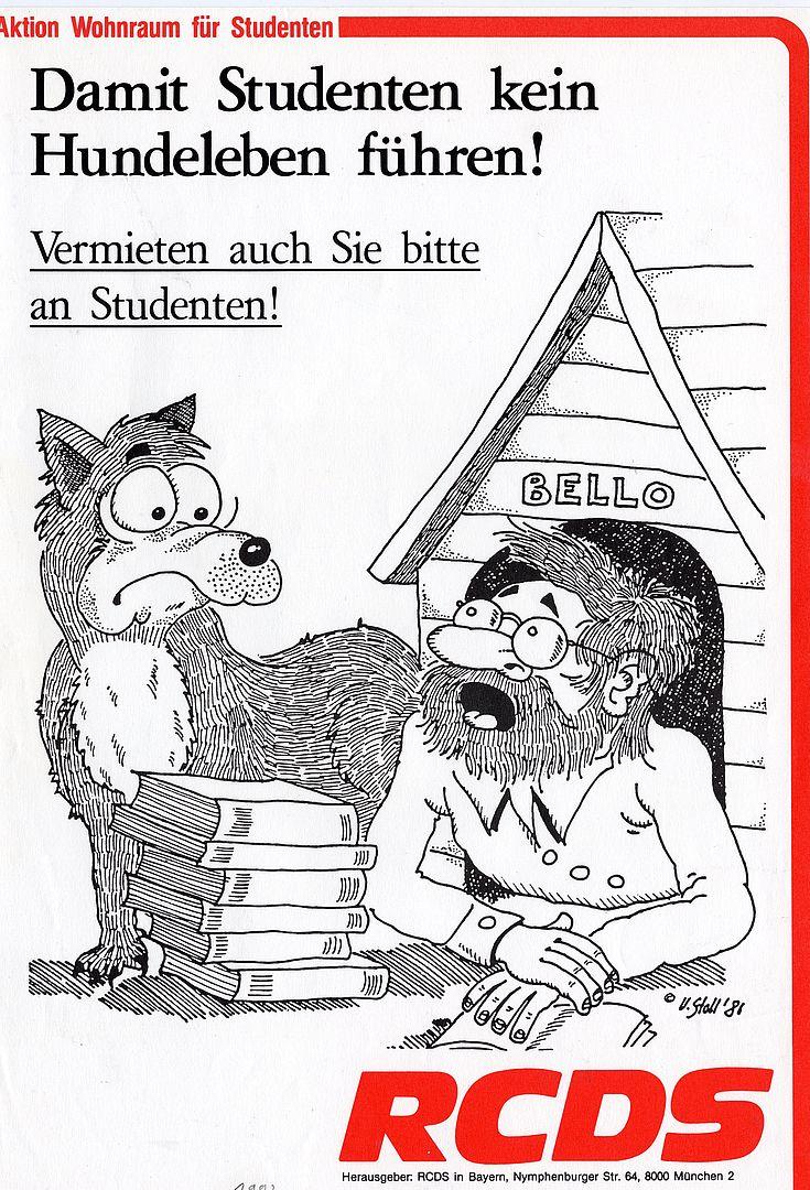 """Flugblatt zur """"Aktion Wohnraum für Studenten"""" 1992"""