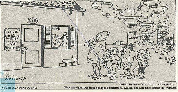Bruch der Viererkoalition 1957 (Herbert Kolfhaus , Münchner Merkur vom 10.10.1957)