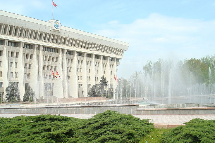 Seitenansicht vom hellen Parlamentsgebäude mit Springbrunnen, grünen Büschen und Rasen