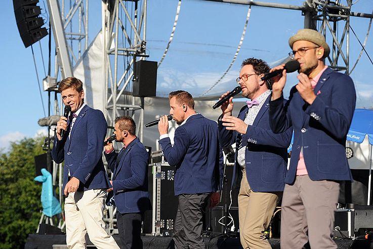 Viva Voce auf der Bühne, während eines Songs.