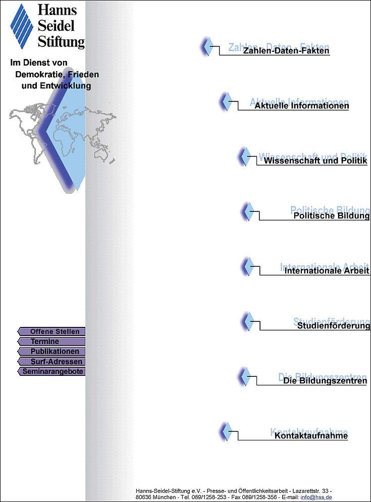 Homepage der Hanns-Seidel-Stiftung im Design von 1997