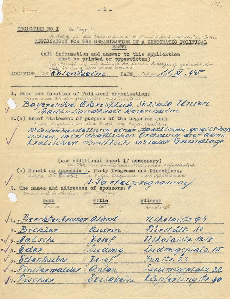Antrag an die US-Militärregierung über die Organisation einer demokratisch-politischen Partei 1945