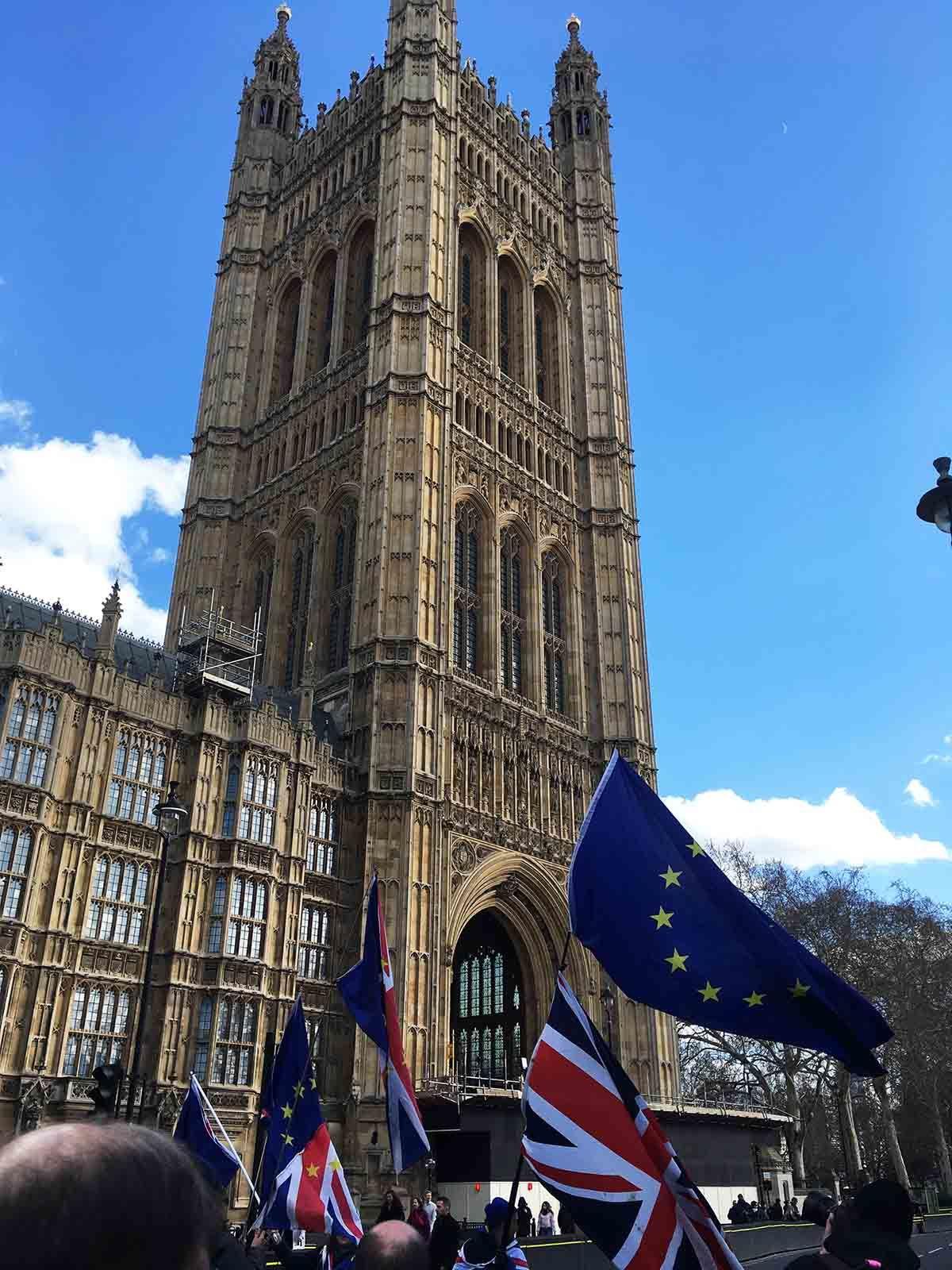 Das Parlamentsgebäude in London mit Demonstranten davor
