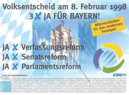 Plakat für Volksentscheid Senatsreform
