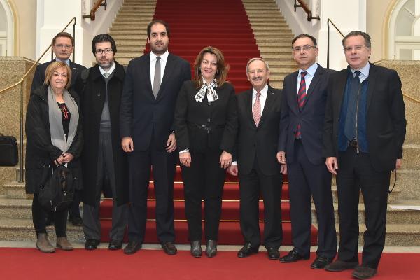 Die griechische Delegation mit Reinhold Bocklet, 3.v.r.