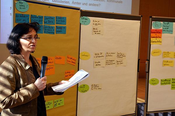 Tagungsleitung Silke Franke bei der Moderation des Workshops
